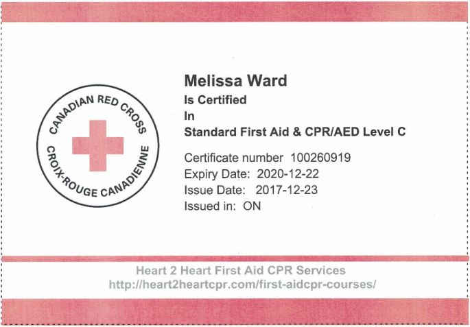 First Aid CPR Certificate